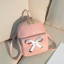 Backpack Women Leather Woman Girls Backpacks Rucksack Travel Satchel School Mini Bag Bow And Leaves Decoration