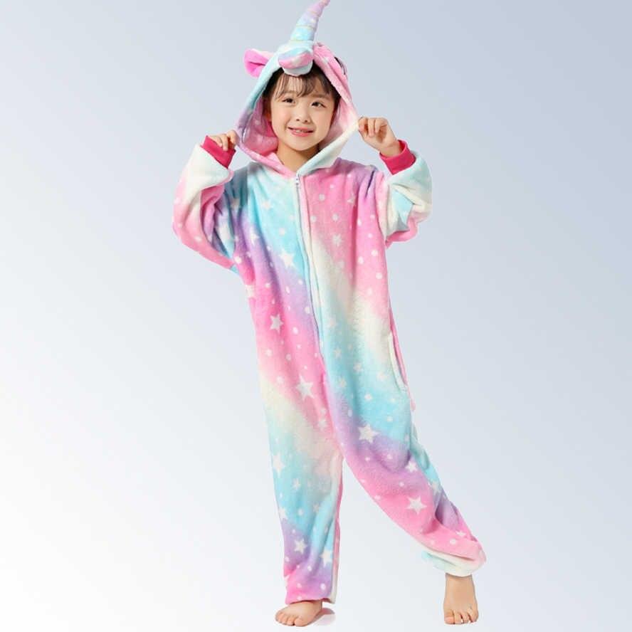 Дети Мальчики Девочки пижамы новые животные звездное небо Пегас костюм  единорога фланелевые комбинезоны дети мультфильм косплей 5cea570231b55