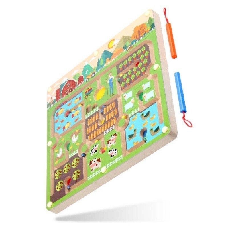 Stylo à perles magnétique labyrinthe thème de la ferme jeux Parent-enfant Puzzles Montessori en bois jouets éducatifs pour les enfants d'âge préscolaire - 3