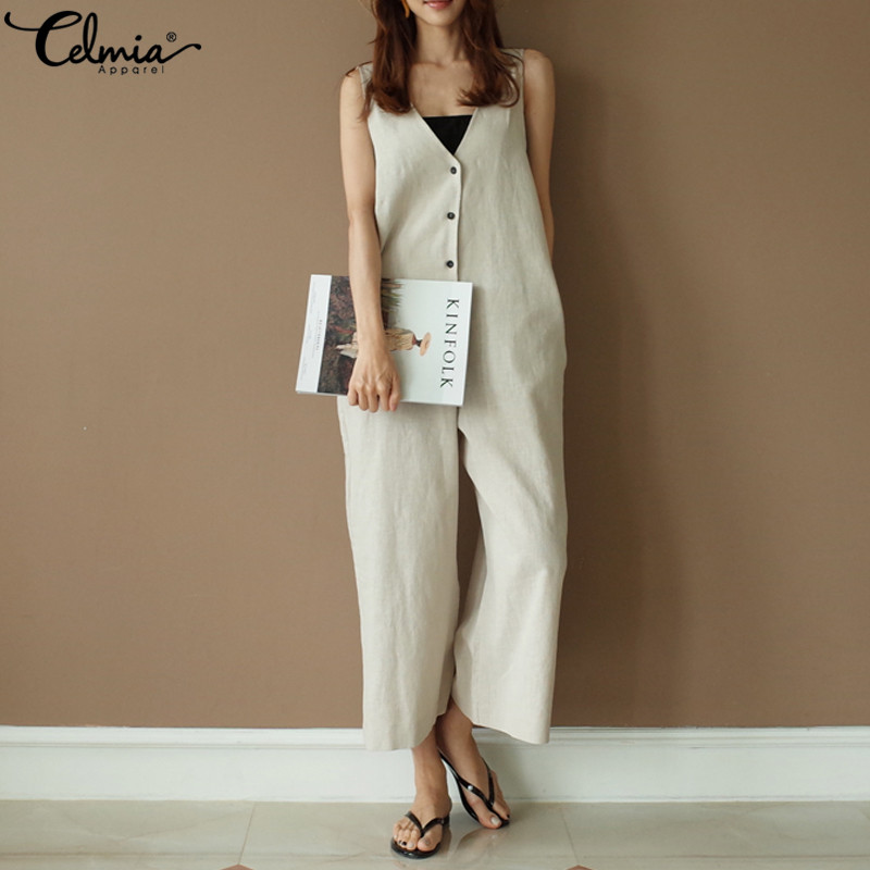 Celmia 5XL Women   Jumpsuit   Sleeveless Summer Romper Wide Leg Trousers 2019 Womens V-neck Button Casual Outfits Plus Size Overalls