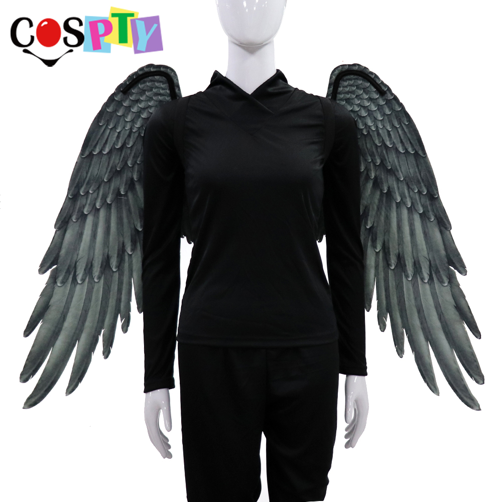Cospty Хэллоуин взрослых девушка Ангел косплей Дьявол костюм демон платье большие черные крылья