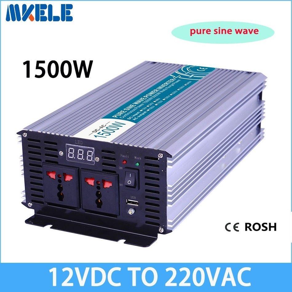Onduleur Max 2500 Watt 1500 W 12 V à AC 220 110 volts LCD numérique 1 USB convertisseur à onde sinusoïdale Pure transformateur de convertisseur de Charge de voiture