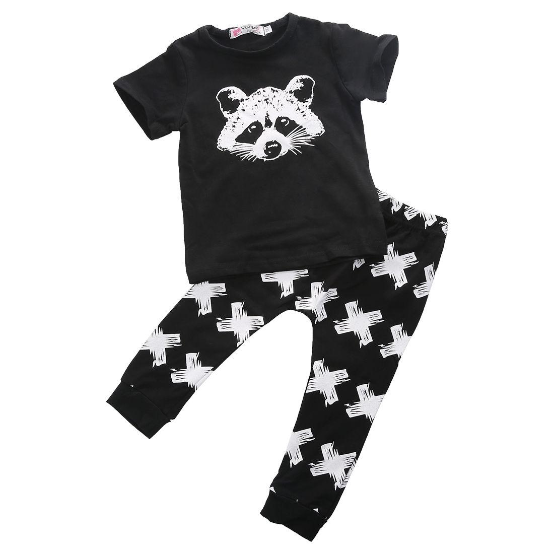 0-24 M Neugeborenen Baby Jungen Kleidung Kurzarm Fuchs Baumwolle T-shirt Tops Kreuz Drucken Lange Hose 2 Pcs Baby Kleidung Set