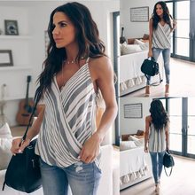 Boho Vrouwen Zomer Casual Gestreepte Hemdje T-shirts 2019 Mode Vlakte Patchwork Strappy Mouwloze Vesten Party Club Tops Mujer(China)