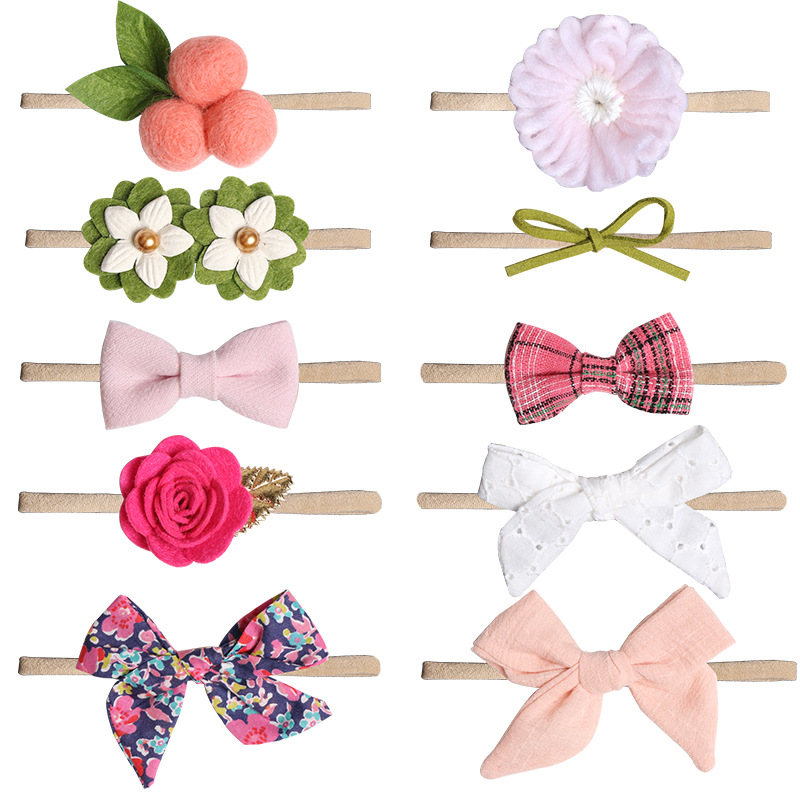 BalleenShiny Baby Girls Floral Bowknot Headwrap Headwear Photo Prop Infant Kids Cute Princess Elastic Headband Hair Accessories