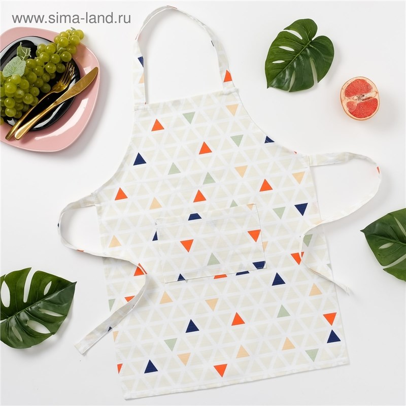 Apron children Ethel Triangles, 46 × 60 cm, репс, pl. 130g/m², 100% cotton decorative pillow case ethel triangles 45x45 cm репс pl 130g m² 100% cotton