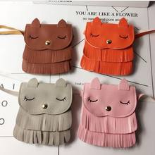 Kids Girls Lovely PU Leather Tassel Small Cat Shoulder Messenger Bag Coin Purses(China)