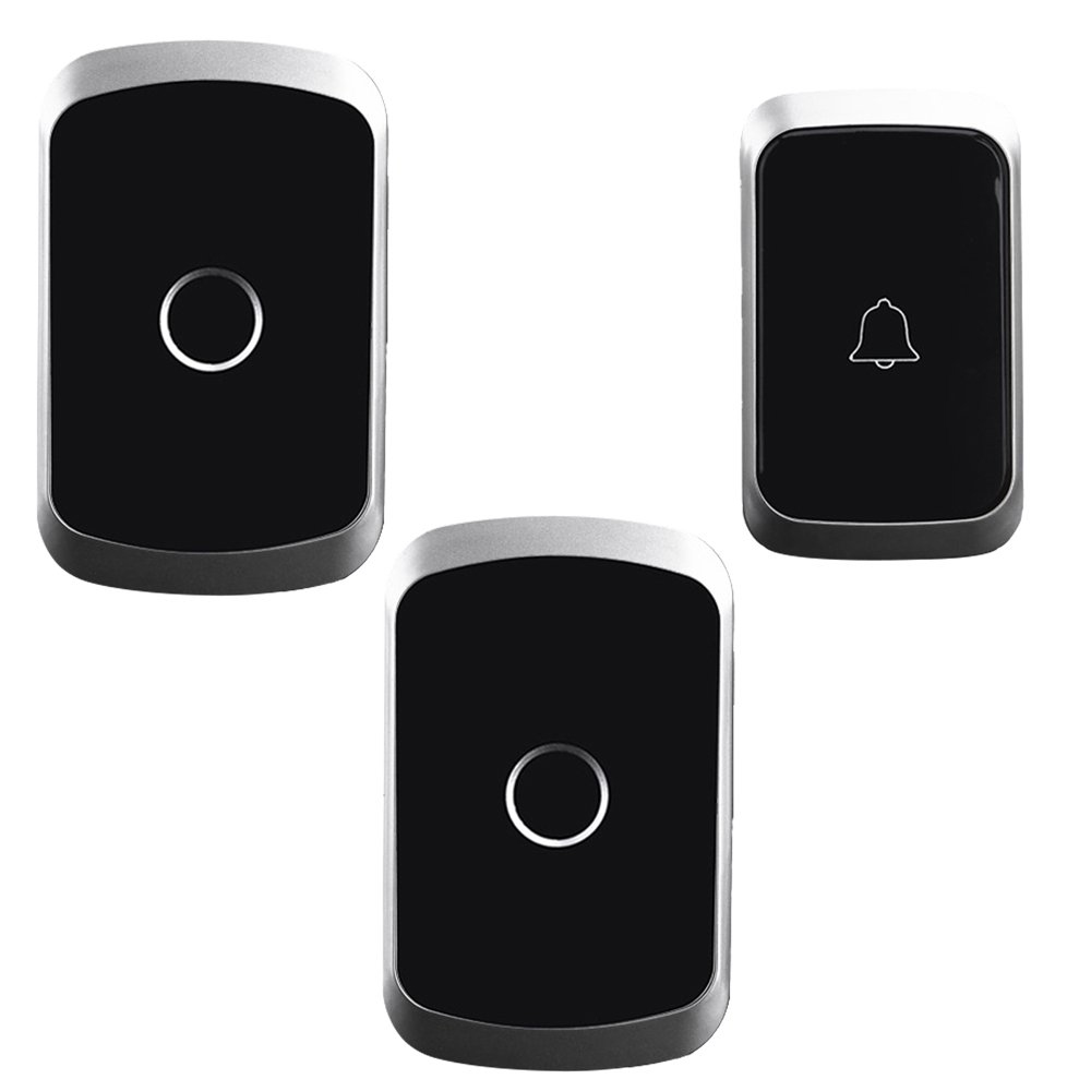 JABS Cacazi Wireless Doorbell Waterproof 1 Battery Button 2 Receiver 300M Remote Smart Home Cordless Door Bell Chime(Eu Plug)