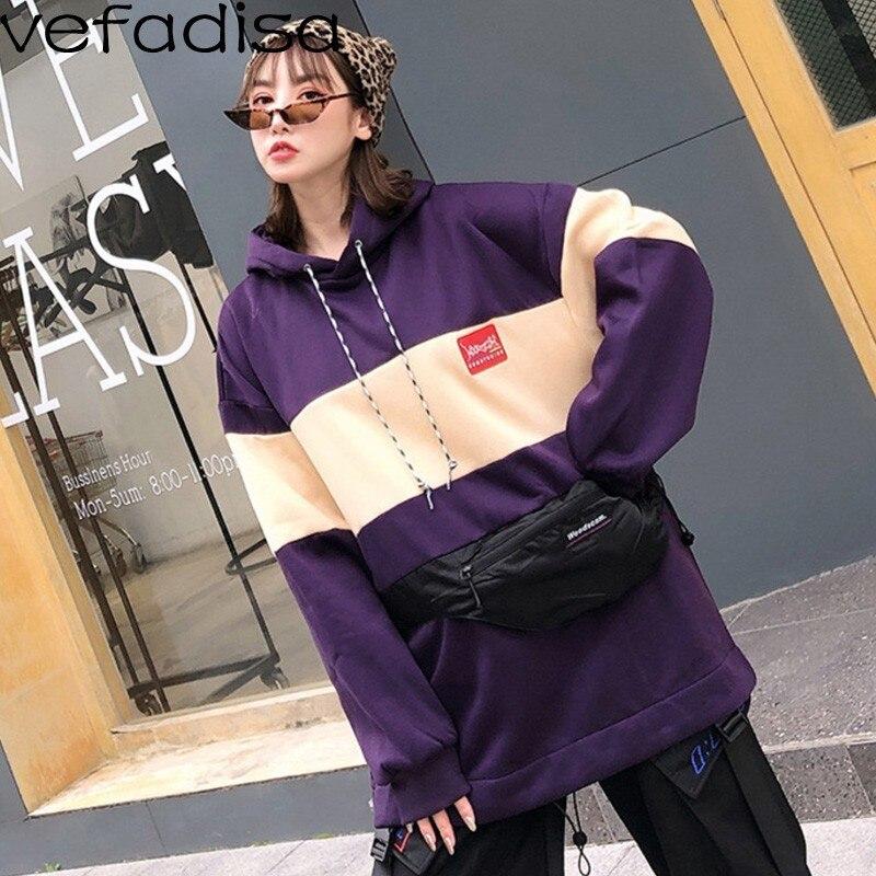1d6db241d0e Tops Zld212 Contraste Hiver black Violet Vefadisa Femmes Couleur Taille  Lâche Poches Sweat Occasionnel À Cordon Capuche H7HwOUq