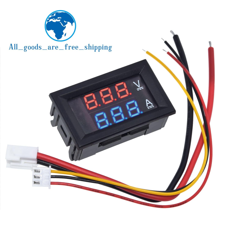 Цифровой вольтметр Амперметр TZT, постоянный ток 0-100 в, 10 А, двойной дисплей, детектор напряжения, панель измерителя тока, амперметр, 0,28 дюйма, красный, синий светодиод