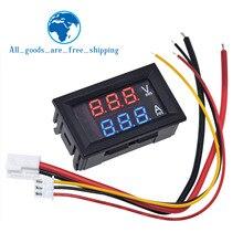 """TZT DC 0 100V 10A dijital voltmetre ampermetre çift ekran gerilim dedektörü akım ölçer paneli Amp Volt ölçer 0.28 """"Kırmızı mavi LED"""