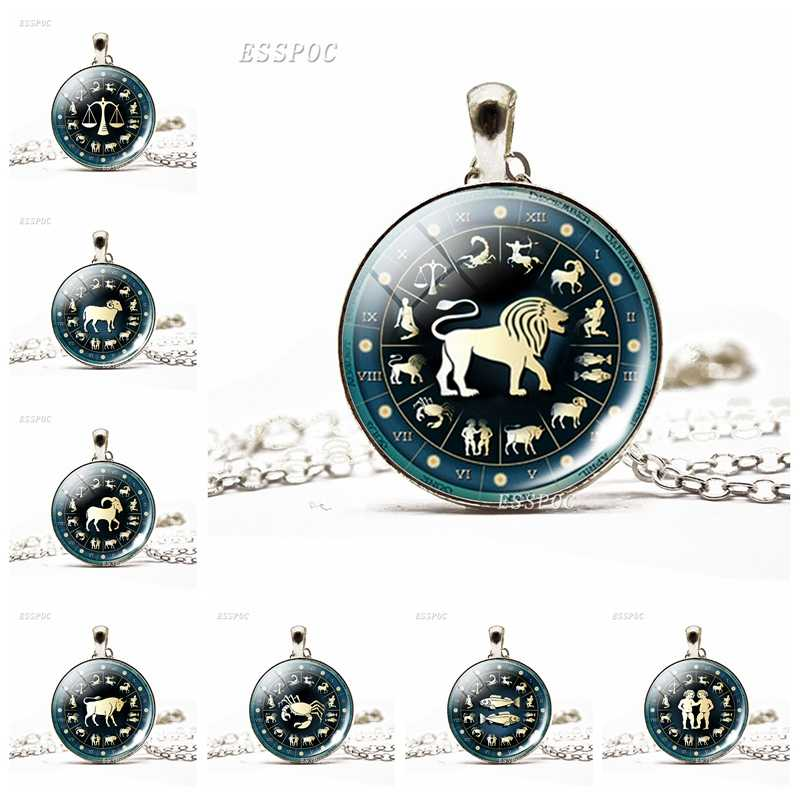 Zodiac Libra Scorpio 12 Horoscope Birthday Gift Cute Cabochon Aquarius  Constellations Jewelry Pendant Glass Dome Necklace Women