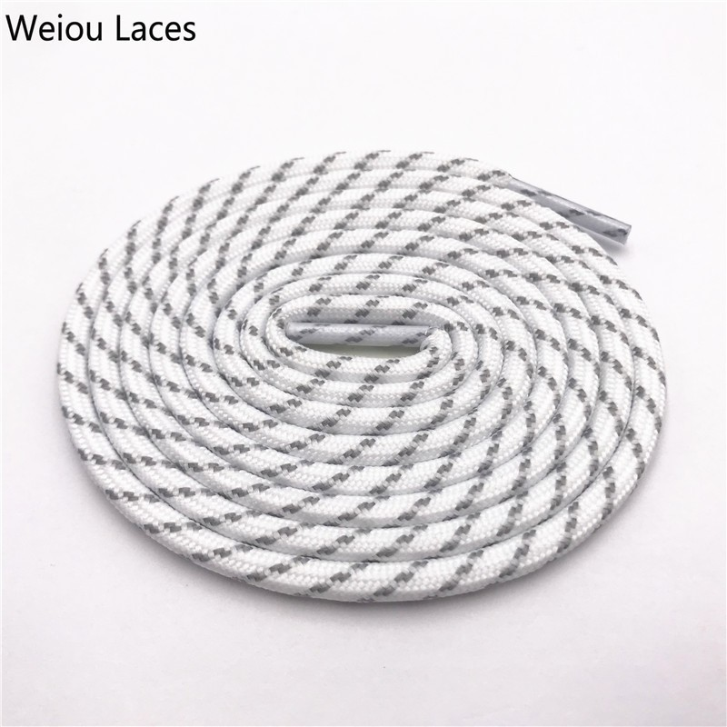 Weiou 4.5mm Round Rope Laces White Grey Cross Grain Two Tone Shoelaces Striped Bootlaces For Hiking Outdoor Sports Old Dad ShoesWeiou 4.5mm Round Rope Laces White Grey Cross Grain Two Tone Shoelaces Striped Bootlaces For Hiking Outdoor Sports Old Dad Shoes