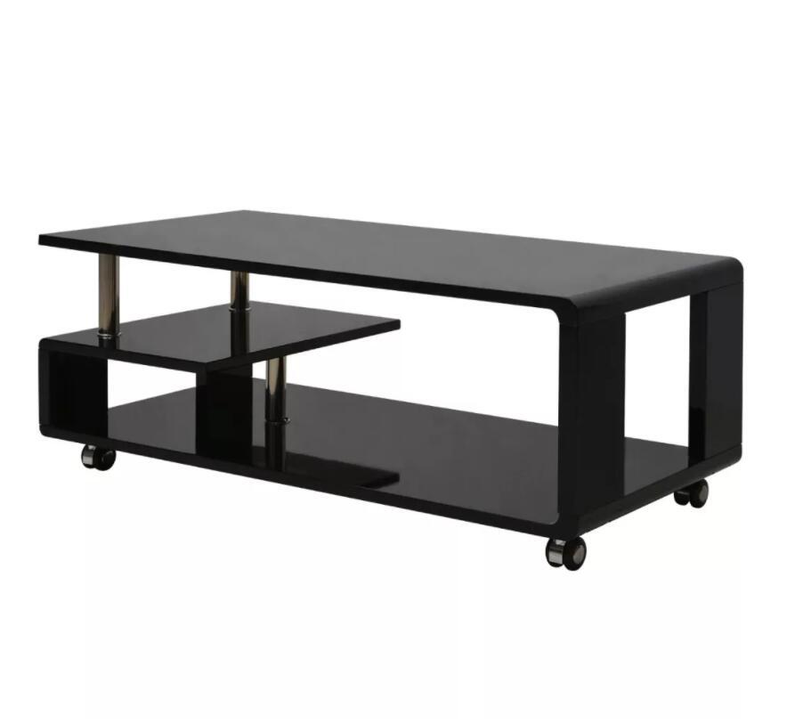 VidaXL Striking Glossy Coffee Table Table Basse With 4 Wheels Simple Modern Tea Table Rectangular Desk Creative Coffee Table