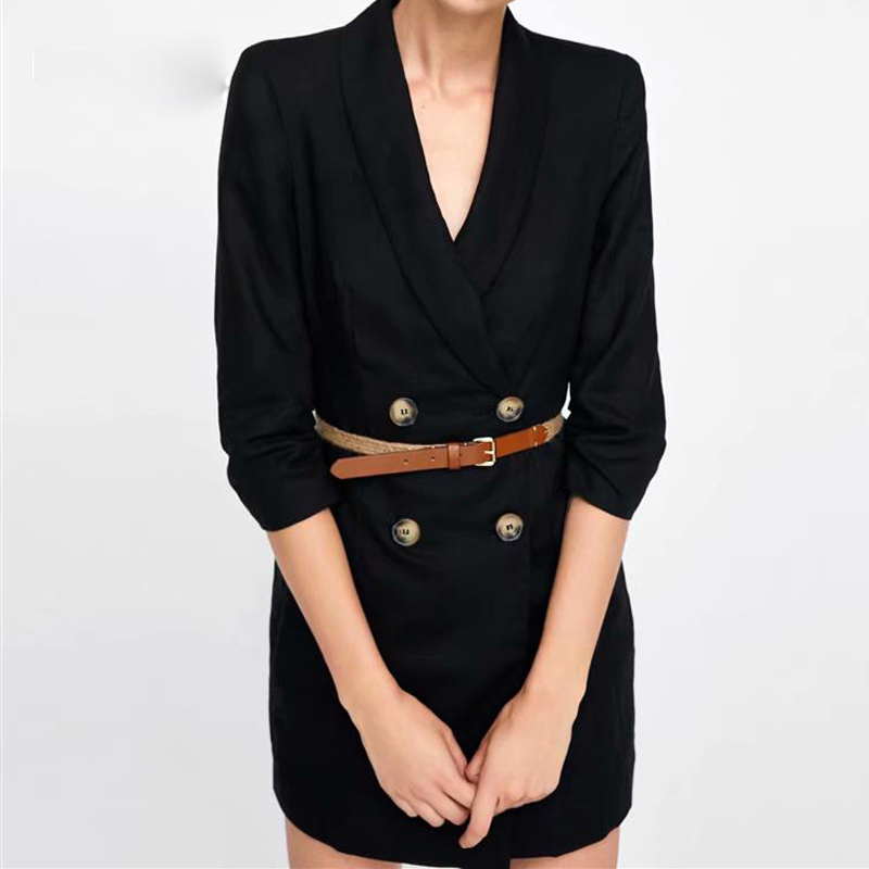 2019 Autumn New Suit Style Dress Lapel Double-Breasted Suit Dress Female