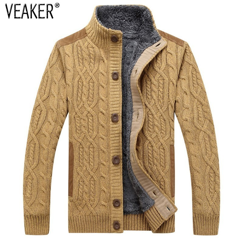 Outerwear Coat Sweater Men's Slim-Fit Knitted Wool Winter New Thick Fur Twist Solid Faux-Fur