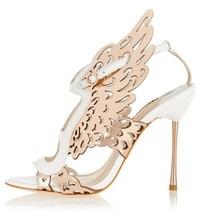 Elegant Gold Metallic Butterfly Wing Women Sandals Cut-out Metal Stiletto Heels Wedding Shoes Bride Hollow Banquet Dress