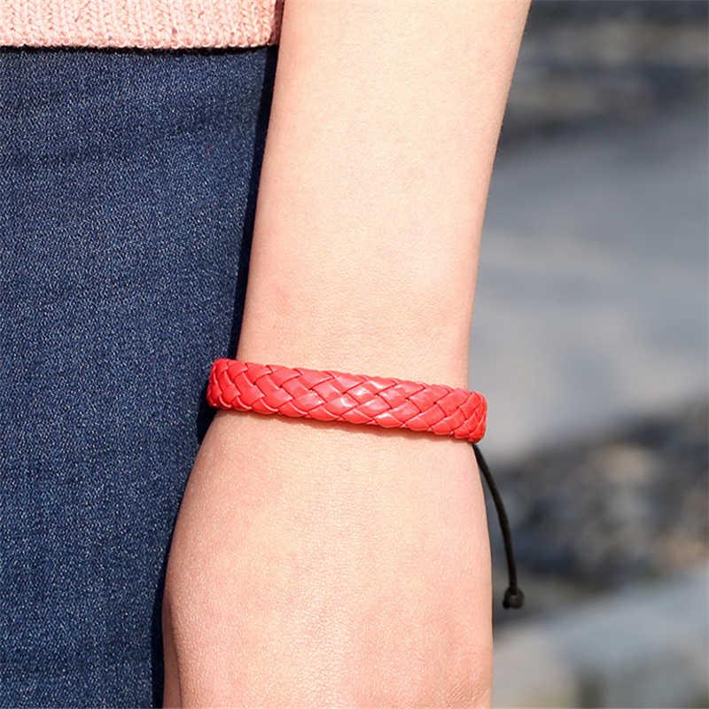 Liny mężczyzn ręcznie tkane moda bransoletka bransoletka Surfer wielu kolorów mankiet regulowany 1 sztuka proste skórzane Unisex