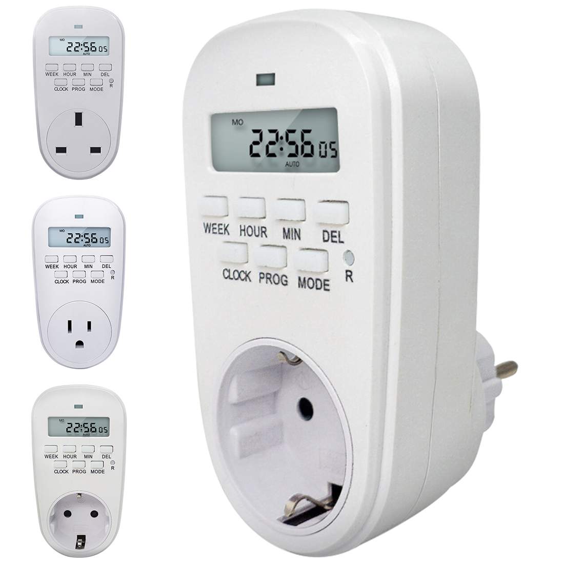 Caliente ajustable programable Ajuste de reloj/tiempo de encendido/apagado temporizador Digital interruptor de ahorro de energía inteligente enchufe de la UE /enchufe de Reino Unido