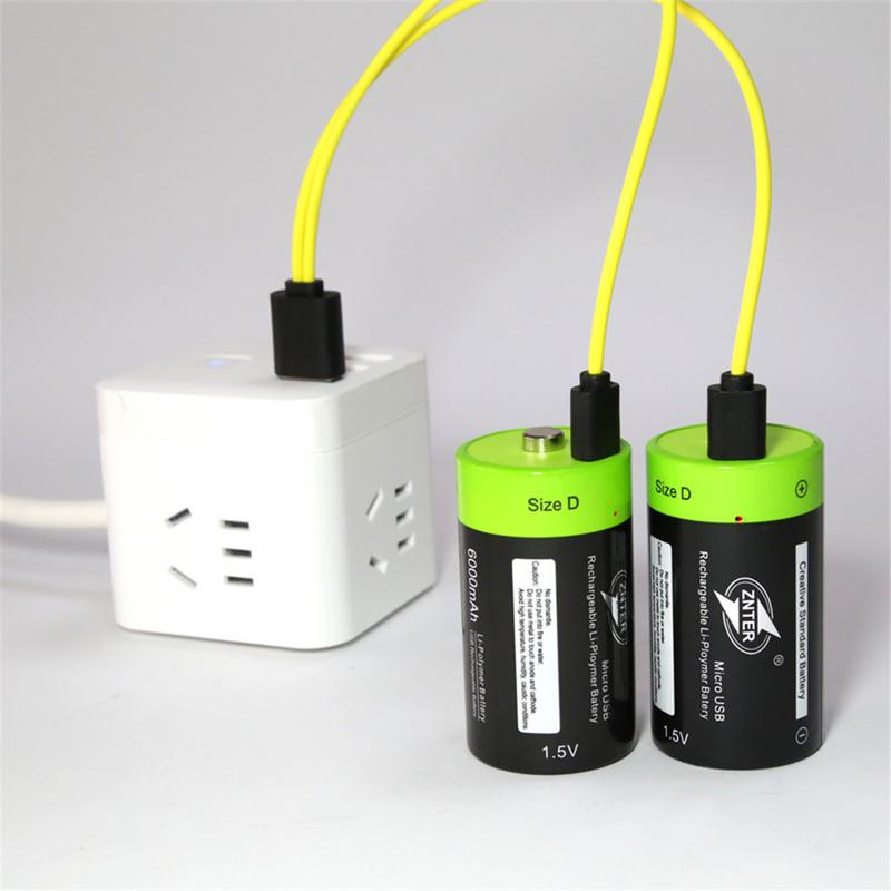 ZNTER ZNT1-2pcs 1.5v Lithium Li-polymer 4000mAh USB D Size Rechargeable Battery D Type Multifunctional Battery(No Usb)