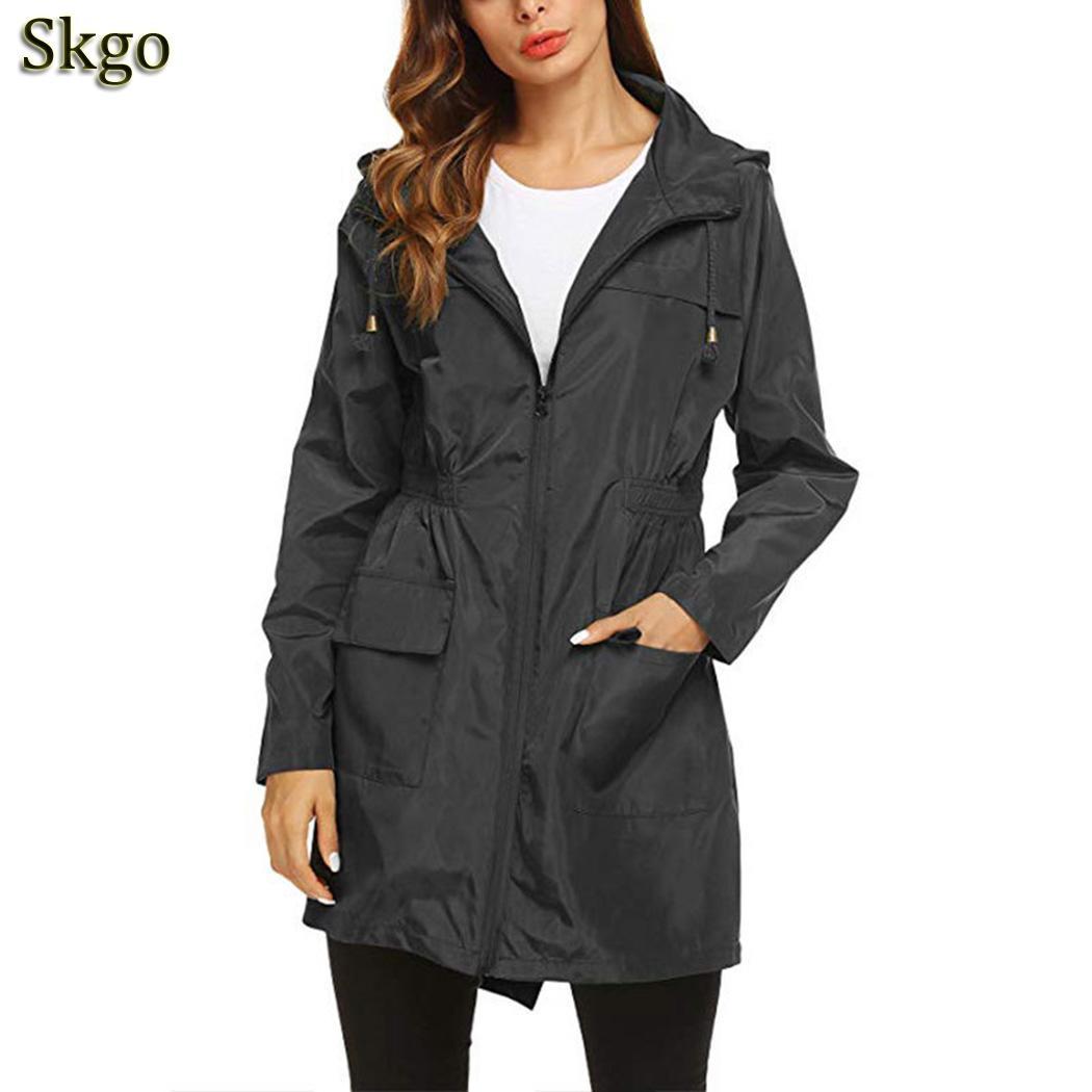 Women Fashion Fit Hooded Drawstring Pocket Design Raincoat Outdoor Casual Regular New Zipper Solid Waterproof Waist