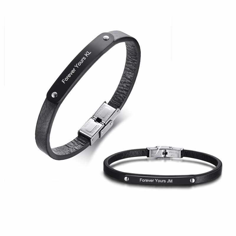 81086ca3984dc Always and Forever Matching Couple Bracelets Leather Bracelet His ...