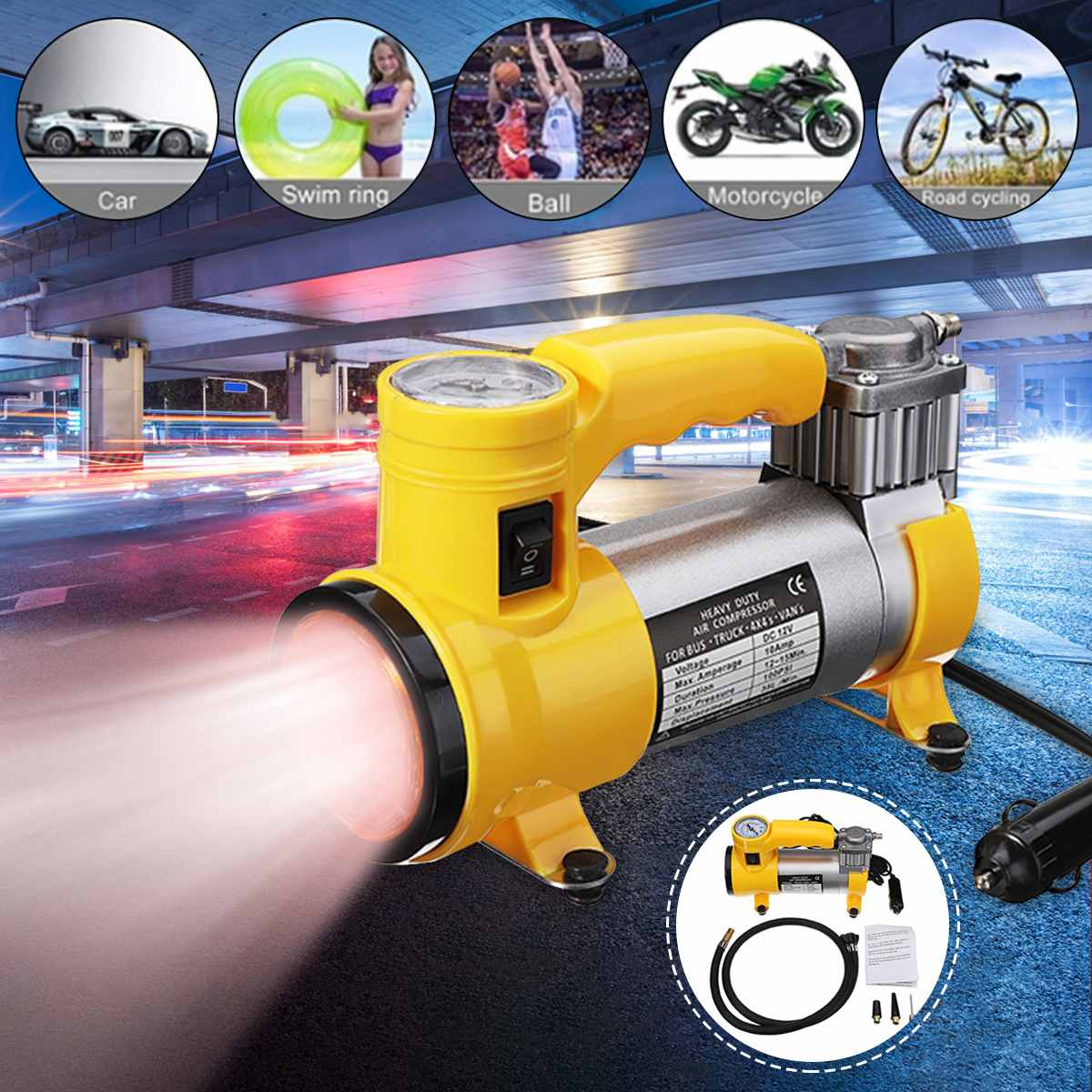 12V Electric Inflator Pump Car Tire Inflator Air Pump With Air Compressor for Car Bicycles Motorcycles Bus Air Pumps