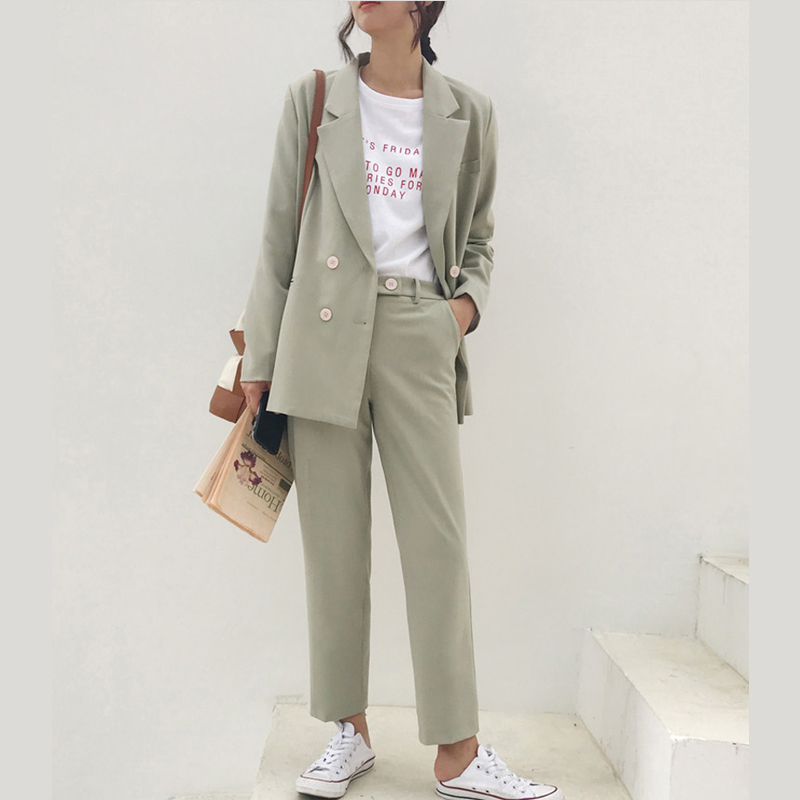 2019 Spring Office Wear Vintage Double Breasted Pant Suit Notched Blazer Jacket & Pant Women Ensemble Femme Conjuntos De Mujer