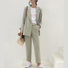 2019 Spring Office Wear Vintage Double Breasted Pant Suit Notched Blaze