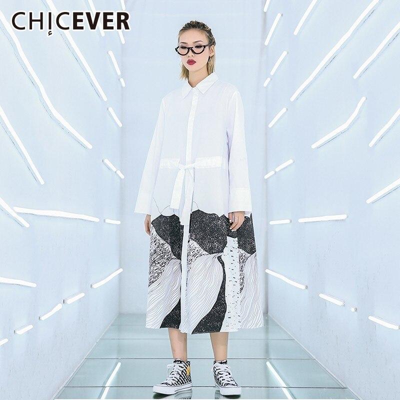CHICEVER Spring Women Long Black Dress Lapel Long Sleeve Print Hem Pacthwork Button Loose Oversize Dresses