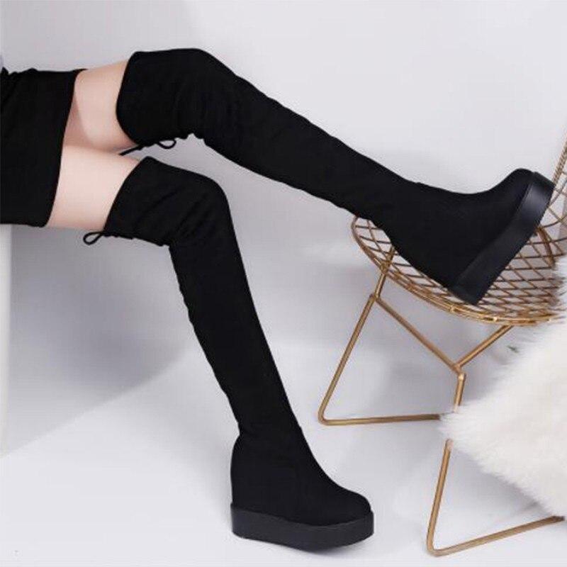 ec8f114b59 Comprar Coxa Botas Altas Botas de Plataforma Feminina Botas de Inverno  Mulheres Acima do Joelho Botas de Cunhas de Salto Alto Sapatos De Peles  Quentes ...