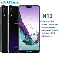 DOOGEE N10 mobile Phone Octa Core 3GB RAM 32GB ROM 5.84inch FHD+ 19:9 Display 16.0MP Front Camera 3360mAh Android 8.1 4G LTE