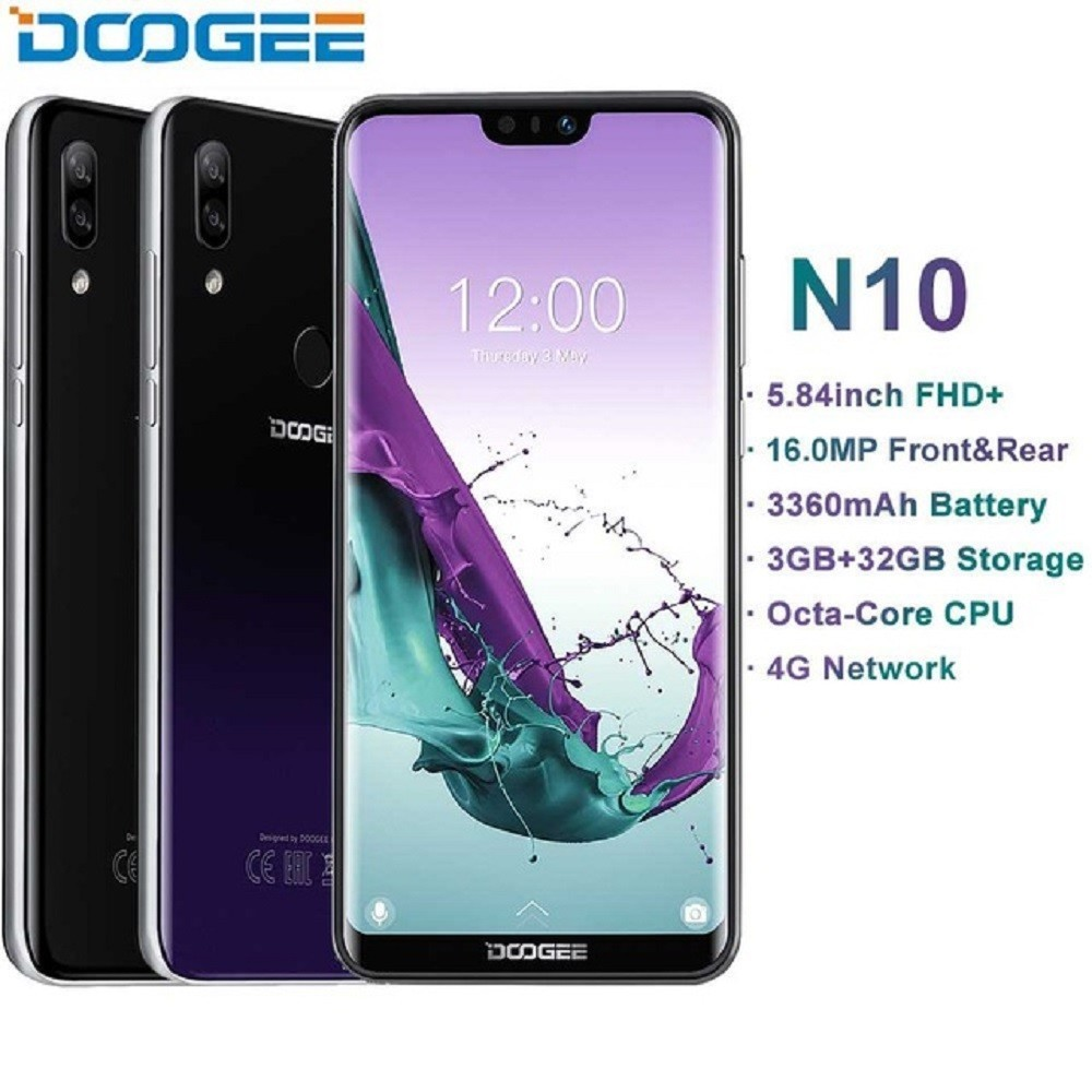 DOOGEE N10 téléphone portable octa-core 3 GB RAM 32 GB ROM 5.84 pouces FHD + 19:9 affichage 16.0MP caméra frontale 3360 mAh Android 8.1 4G LTE