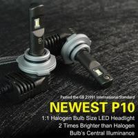2018 P10 6000K ZES Chip Led Headlight H7 LED H4 H11 9005 HB3 9006 HB4 LED Auto Lamp Multiple Color Temperature Mini Size