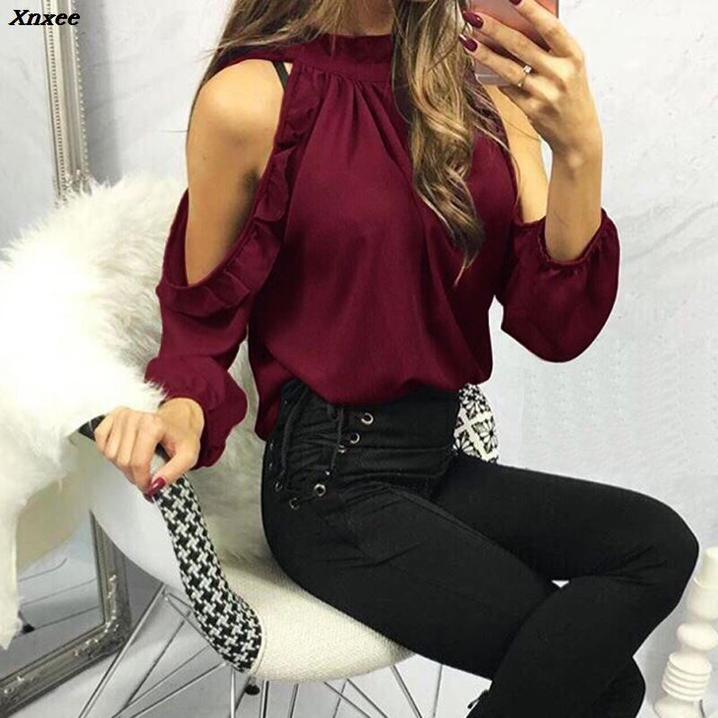 Fashion Women Casual Blouse Shirt 2019 Spring Summer Sexy Open Shoulder Ruffle Long Sleeve Ladies Tops Blouses feminine Blouse in Blouses amp Shirts from Women 39 s Clothing