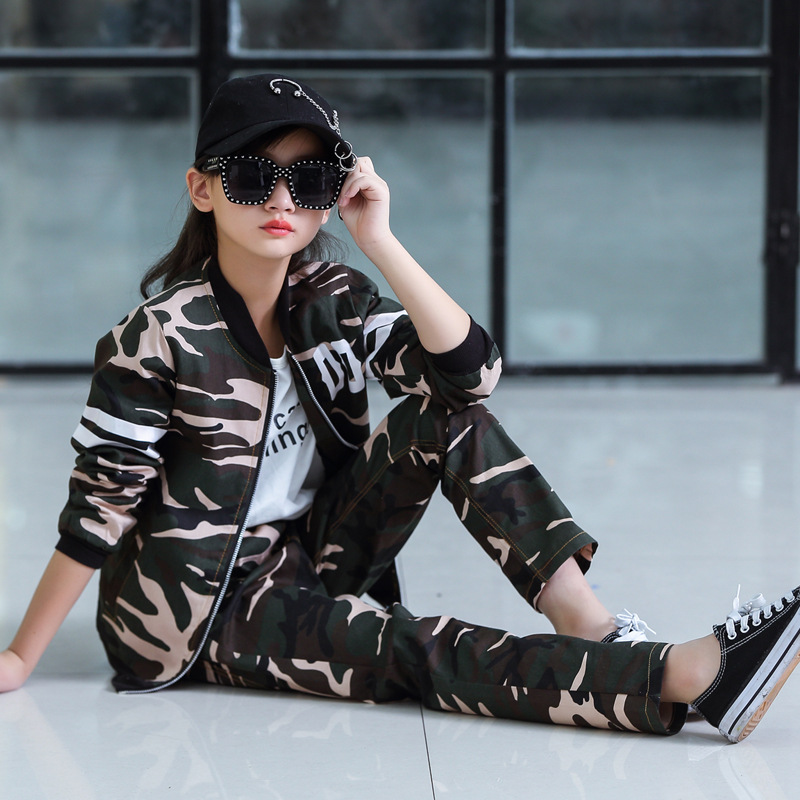 Childrens Suit Spring and Autumn Clothing Boys and Girls Sports Fashion Baseball Collar New Big Childrens Camouflage ClothingClothing Sets   -