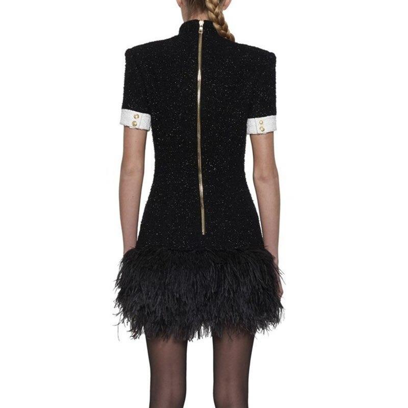 Hit Donne Del Vestito Twotwinstyle Delle Orlo Piuma 2019 Di Patchwork Colore Manica Vestiti Modo Molla Corta Basamento Femminile Elegante Black Collare p8wStwq5