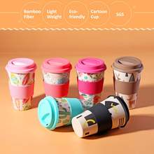 400ml Portable Practical Reusable Bamboo Fiber Silicone Cap Coffee Cups Eco Friendly Non-slip Printing Travel Mugs Useful(China)