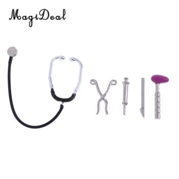 Miniature 5Pcs Stethoscope Set Pretend Equipment for 1/12 Dolls House Life Scene Room Items Accs Children Role Play Doctor Toys