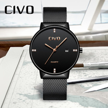 CIVO Top Brand Luxury Mens Watches Simple Design Watches Men Relogio Masculino Waterproof Analogue Quartz Wrist Watch Men Clock classic dual movement design automatic quartz watches clock mens watches top brand luxury watch men skeleton wrist watch