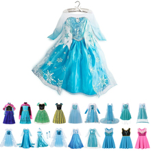 Girl Elsa Fancy Dress Up Children Anna Princess Costume Kids Snow Queen Coronation Birthday Party Clothes Girl Halloween Cosplay girl dress summer brand toddler girls clothes lace sequins princess anna elsa dress snow queen halloween party role play costume