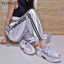 Spring Autumn Fashion New Silver Hip Hop Pants Women Joggers Sweatpants Womens Leather Side Stripe Long Running Sports