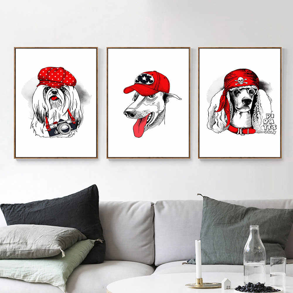 AAVV Posters and Prints Print on Canvas Wall Art Animal Picture for Living Room Home Decor Dog Wearing Red Hat No Frame