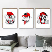 AAVV Posters and Prints Print on Canvas Wall Art Animal Picture for Living Room Home Decor Dog Wearing Red Hat No Frame(China)