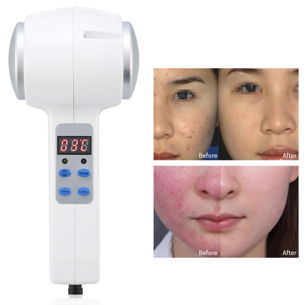Hot Cold Hammer Ultrasonic Cryotherapy Massager Skin Rejuvenation Shrink Pore Face Lifting Anti-ageing Face Body Beauty Machine