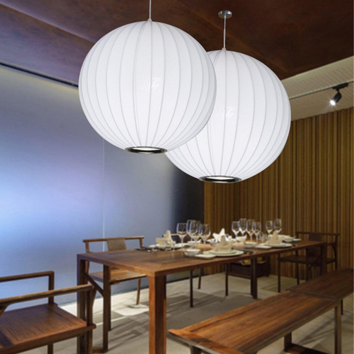 E27 soie pendentif lumières bulle lampe blanche boule de soie pendentif lumière blanc salon maison pendentif lampe pendentif éclairage intérieur
