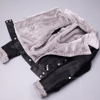 Winter Warm Faux PU Leather Jacket Women Faux Leather Lambs Wool Fur Collar Suede Jacket Coats Female Thick Outerwear