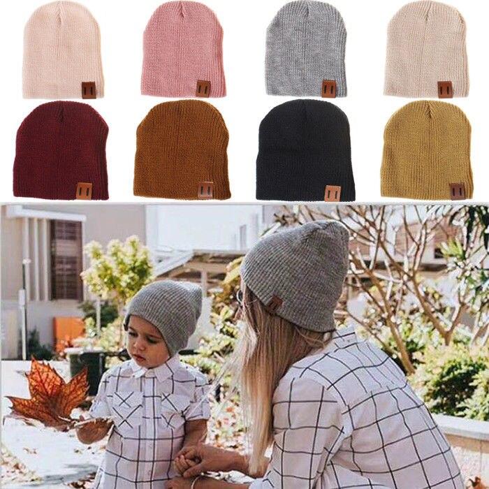 Brand 2019 Men Women Family Cap Matching Winter Baby Kids Dad Mom Knitted Crochet Beanie Warm Hat Cap