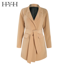 HYH HAOYIHUI Simple commuter camel large tie pocket waistband slim suit jacket