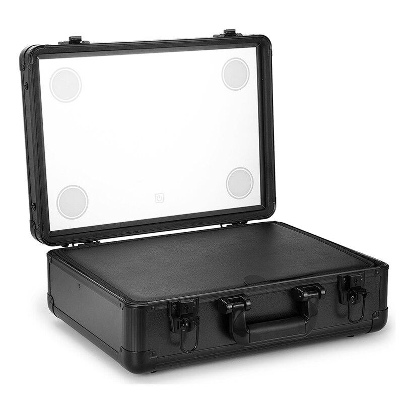 Maquillage Train Cas, Pro En Aluminium Cosmétique Organizer Box Sac Avec LED et Miroir, grande Capacité Artiste Beauté Cosmétique Outils Storag